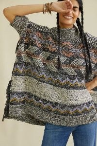 Pilcro Magda Knit Poncho – patterned high neck ponchos – knitted fringe trim outerwear
