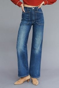 Pilcro The Selvedge Carpenter Wide-Leg Jeans Blue   womens denim fashion crafted from sustainable materials   PVA-free indigo dye