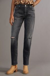 Pilcro The Selvedge Low-Rise Straight Jeans in Black   womens ripped denim