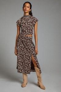 Anthropologie Twist-Front Skirt Set Brown Motif | split hem skirts