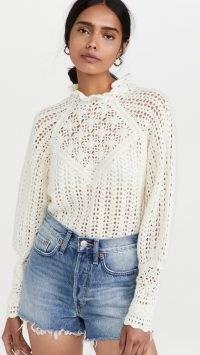 Ba&sh Aste Sweater in Ecru / romantic ruffled turtleneck sweaters / feminine scalloped edge jumpers / romance inspired knitwear / neutral open knit high neck jumper