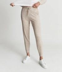 REISS BAILEY WOOL BLEND LOUNGEWEAR JOGGERS NEUTRAL / womens sports luxe jogging bottoms / women's casual sportswear inspired fashion / loungewear / sweatpants