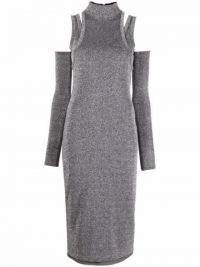 Balmain silver cut-out detail fitted dress ~ glamorous metallic evening dresses