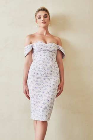 Lavish Alice bardot cowl midi dress in ditsy floral | off the shoulder pencil dresses | glamorous party fashion | going out evening glamour - flipped