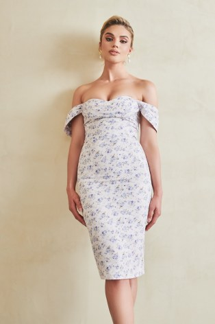 Lavish Alice bardot cowl midi dress in ditsy floral | off the shoulder pencil dresses | glamorous party fashion | going out evening glamour
