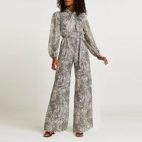 RIVER ISLAND Beige snake print wide leg jumpsuit ~ glamorous evening jumpsuits ~ animal print going out fashion