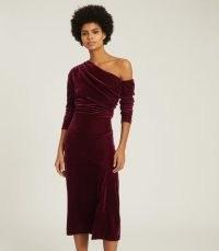 REISS BELLA VELVET MIDI DRESS BERRY ~ jewel tone asymmetric one shoulder evening dresses ~ luxe occasion fashion