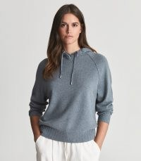 REISS BELLA WOOL CASHMERE BLEND HOODIE BLUE / knitted hooded tops / womens chic pullover hoodies