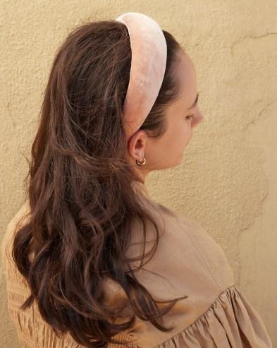 Loeffler Randall Bellamy Shell Puffy Headband | pink velvet headbands | luxe hair accessorirs - flipped