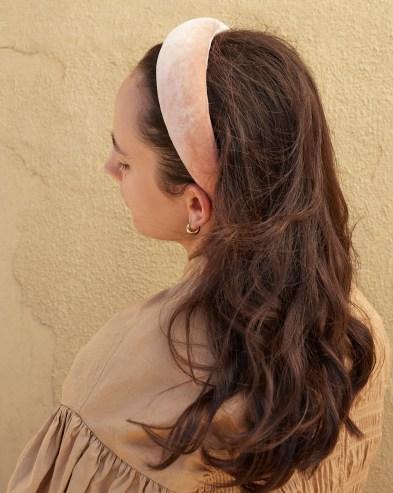 Loeffler Randall Bellamy Shell Puffy Headband | pink velvet headbands | luxe hair accessorirs