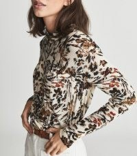 REISS BERNIE FLORAL PRINTED TOP NEUTRAL ~ gathered detail high neck tops
