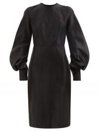TOM FORD Black balloon-sleeve silk-duchesse midi dress ~ chic LBD