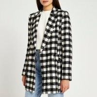 RIVER ISLAND Black boucle double breasted blazer / womens textured checked oversized fit blazers / women's fashionable jackets / monochrome check outerwear
