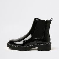 RIVER ISLAND Black chunky brogue boots ~ womens patent faux leather boots ~ pull tab ~ ribbed panel