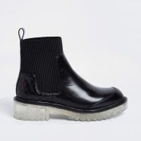 RIVER ISLAND Black clear sole boots ~ womens quilted detail chelsea boot