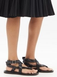 JIL SANDER Crossover-strap leather sandals ~ womens black strappy thonged flats