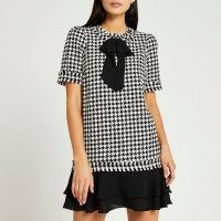 RIVER ISLAND Black dogtooth boucle mini dress ~ fringed houndstooth check tweed style dresses