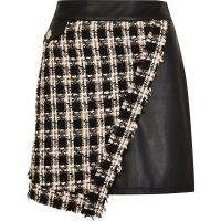 RIVER ISLAND Black dogtooth boucle mini skirt ~ asymmetric check print skirts ~ tweed style fashion