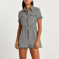 RIVER ISLAND Black dogtooth check boucle belted playsuit / houndstooth zip front point collar playsuits / womens on trend checked fashion