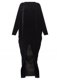 Eclipse long-sleeved velvet gown – RICK OWENS black elegant gowns gown