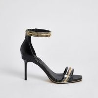 RIVER ISLAND Black embellished heeled sandals ~ barely there ankle strap high heels ~ stilettoe heel party shoes