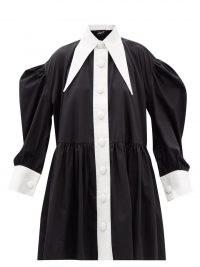 ELZINGA Exaggerated-collar silk babydoll dress ~ black and white trim balloon sleeve shirt dresses ~ oversized pointed collars ~ womens voluminous monochrome fashion