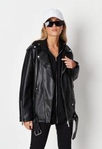 Missguided black faux leather long biker jacket – womens longline zip and stud detail jackets – women's casual on-trend outerwear