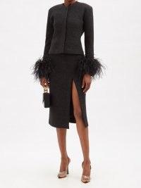 16ARLINGTON Fonda side-slit wool-mélange midi skirt | black thigh high slit skirts | split hem fashion