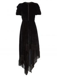 ETRO Fringed scarf-hem black velvet midi dress ~ luxe boho asymmetric hemline dresses ~ chic bohemian fashion