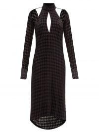MAXIMILIAN Harlequin black cutout diamond-devoré midi dress – glamorous cut out dresses