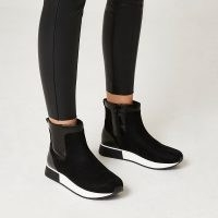 River Island Black high top boots | womens faux fur lined ankle boots | women's sports inspired footwear