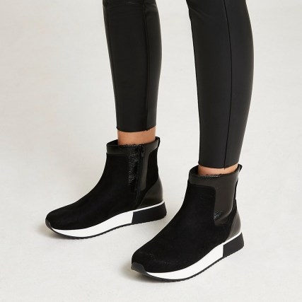 River Island Black high top boots   womens faux fur lined ankle boots   women's sports inspired footwear - flipped