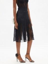 DOLCE & GABBANA High-rise lace-insert black crepe skirt – feminine sheer panel skirts