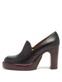 CHLOÉ Irenn heeled leather loafers   wood effect platforms   womens retro block heel platform loafer shoes