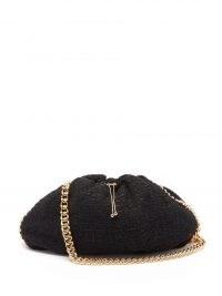 Mania bouclé shoulder bag – ROSANTICA black textured drawstring handbag – chunky chain strap bags