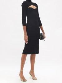 KHAITE Mischa black cutout ribbed-knit midi dress – cut out bodice detail dresses – chic LBD