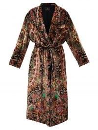ETRO Montage-print velvet robe – ETRO paisley and floral print robes