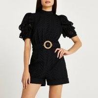 River Island Black open back broderie playsuit | feminine short sleeve belted waist high neck playsuits | puff sleeve fashion
