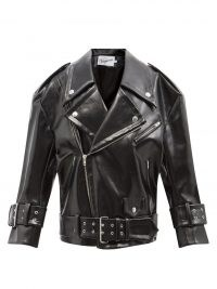 VAQUERA Oversized black faux-leather biker jacket ~ womens casual style zip and stud detail jackets ~ women's classic inspired outerwear