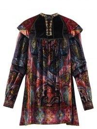 ETRO Paisley-print velvet mini dress – ETRO bohemian fashion – chic boho clothing