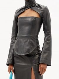 16ARLINGTON Paria cutout black-leather top – womens glamorous cut out tops