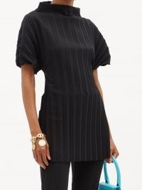 A.W.A.K.E. MODE Pleated high-neck crepe top ~ chic puff sleeve open back tops