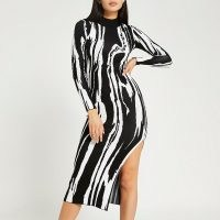 RIVER ISLAND Black printed bodycon midi dress ~ long sleeve high neck fitted going out dresses ~ monochrome evening fashion ~ high split hem