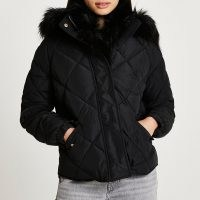 RIVER ISLAND Black quilted puffer coat / faux fur trim coats / womens fashionable hooded winter jackets
