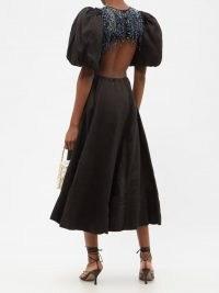 AJE Relic beaded cutout linen-blend midi dress – romantic puff sleeve cut out back dresses – flared hem