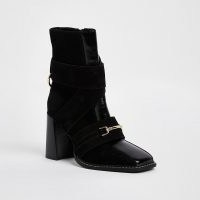 RIVER ISLAND Black square toe heeled boots ~ womens front snaffle detail block heel boot