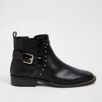 RIVER ISLAND Black studded chelsea boots ~ womens buckle detail ankle boots ~ low block heel