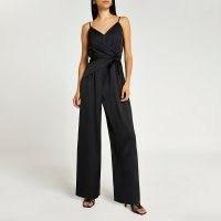 RIVER ISLAND Black tie waist jumpsuit ~ cami strap evening jumpsuits ~ strappy party fashion