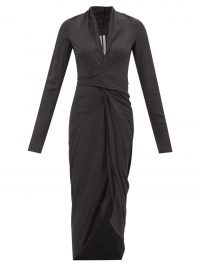 RICK OWENS Wrap-front ruched crepe dress in black ~ draped LBD