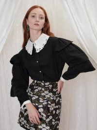 sister jane Inheritance Tier Sleeve Shirt – womens vintage style oversized collar shirts – tiered sleeves – black and white blouses